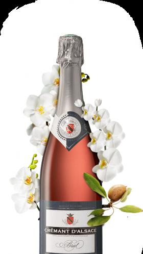 bouteille de crémant rosé alsacien