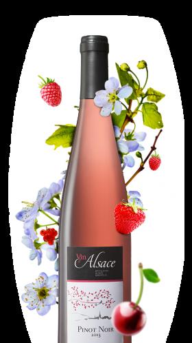 bouteille de pinot noir rosé alsacien