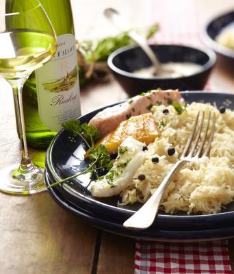 Sauerkraut mit Fisch