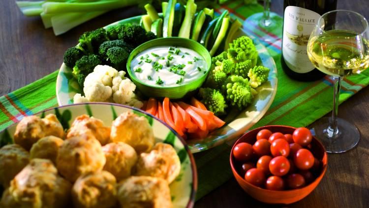 dips de légumes et sauce au fromage blanc