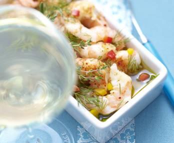 Marinated plancha-cooked king prawns
