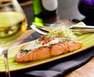 Duo saumon-langoustine au citron et à l'aneth