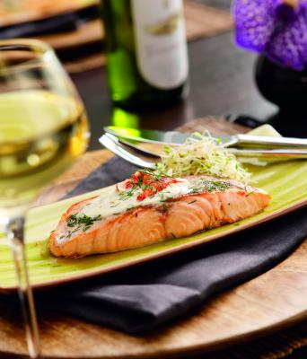 Salmon-Langoustine duo with lemon and dill