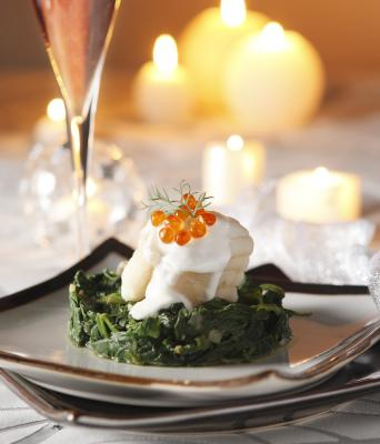 Monkfish medallions with crémant d'Alsace on a bed of spinach