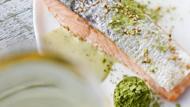 saumon sauce au thé vert