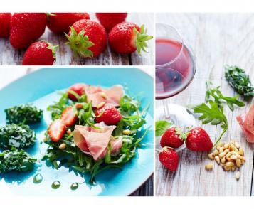 Salade de roquette, fraises, basilic & jambon de parme