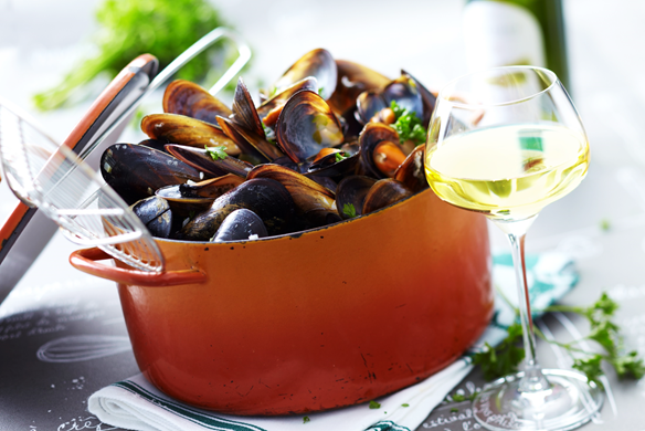 moules marinieres au riesling d'alsace