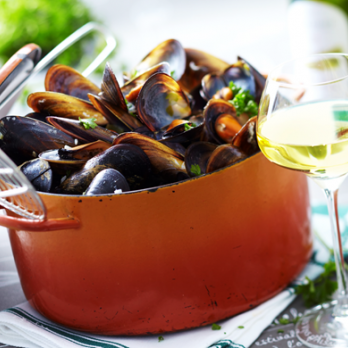 Mariner's mussels in Riesling d'Alsace