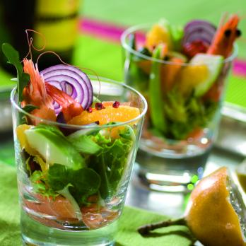 Smoked salmon salad with apples and orange